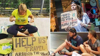 Jovens ricos pedem 'esmola' para viajar