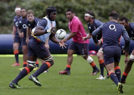 England's Maro Itoje during training