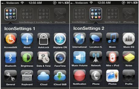 IconSettings provides one-touch access to iOS settings with bookmarks