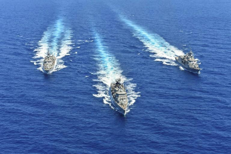 Tensions are soaring in the eastern Mediterranean between EU member Greece and Turkey - ships shown in a Greek National Defence Ministry photo in 2020