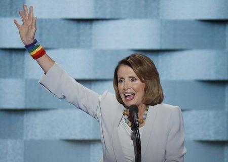 House Democratic Leader Pelosi waves after her speech on the final night of the Democratic National Convention in Philadelphia