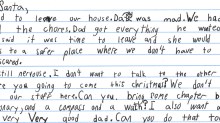 Boy in domestic violence shelter sends heart-wrenching letter to Santa asking for a 'good dad'