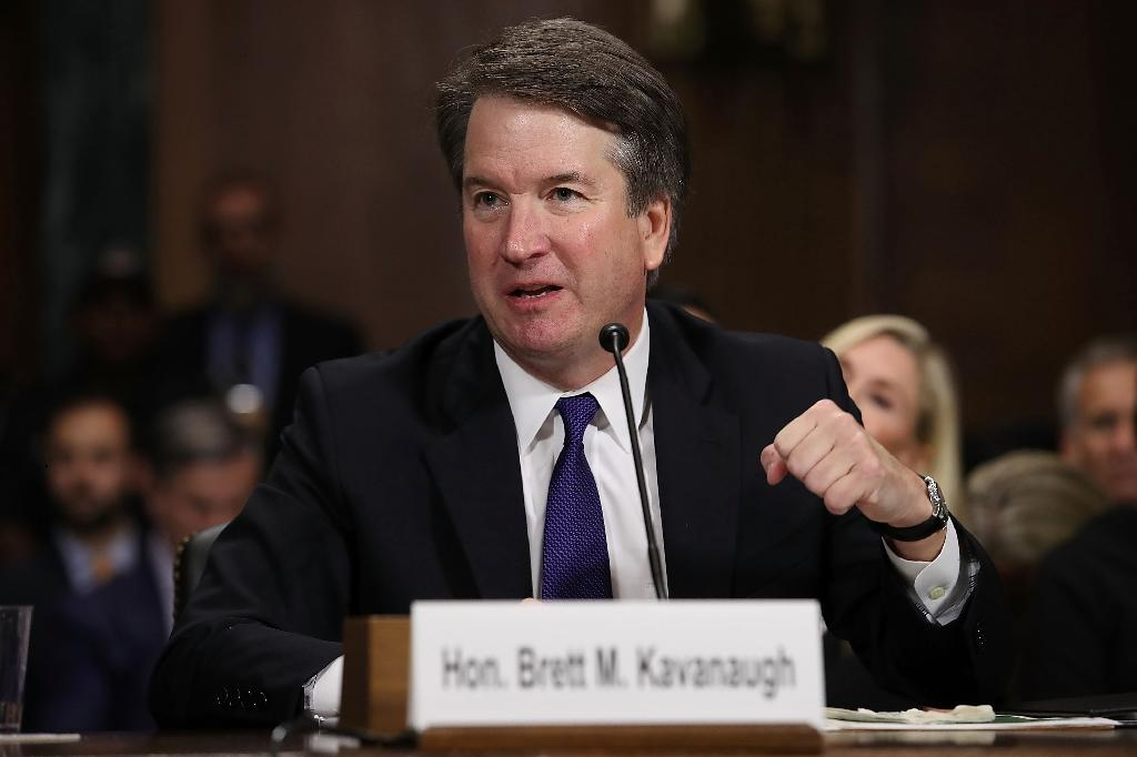 Brett Kavanaugh almost saw his nomination to the Supreme Court derailed by allegations of sexual assault when he was in high school, a charge that led to his school yearbook being gone over with fine-toothed comb (AFP Photo/Win McNamee)