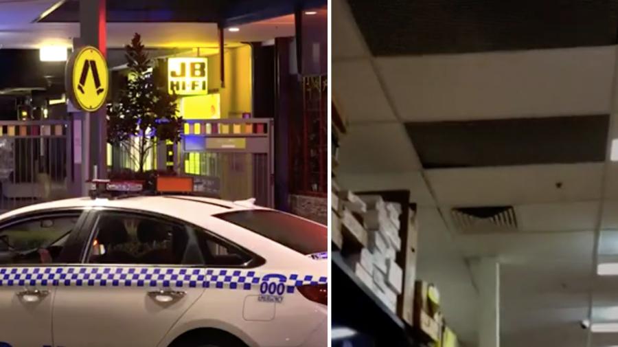 Alleged thief found unconscious in JB Hi-Fi after falling through ceiling