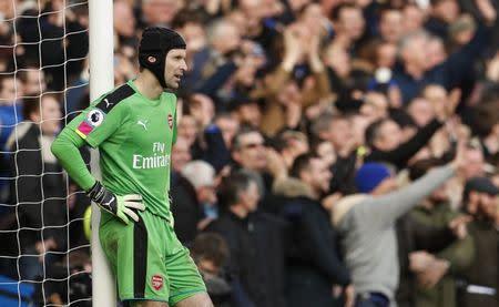 Arsenal's Petr Cech looks dejected after Cesc Fabregas scored their third goal