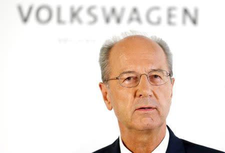 Chairman of Volkswagen Poetsch addresses a news conference in Wolfsburg