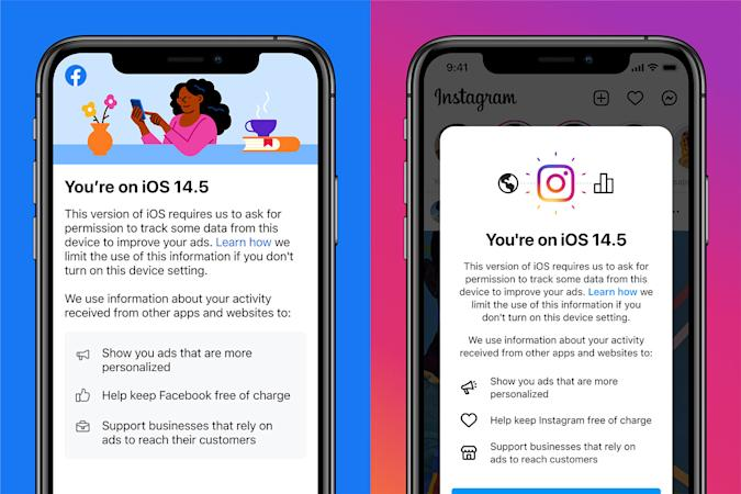 Facebook and Instagram notices in iOS 14.5 arguing for app tracking