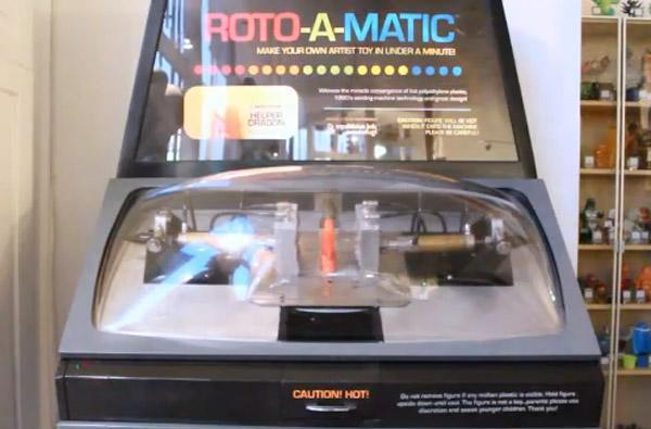 Roto-a-Matic retro vending machine injection molds toys while you wait (video)