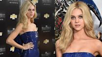 Nicola Peltz Gorgeous in Blue at Transformers Premiere in NYC