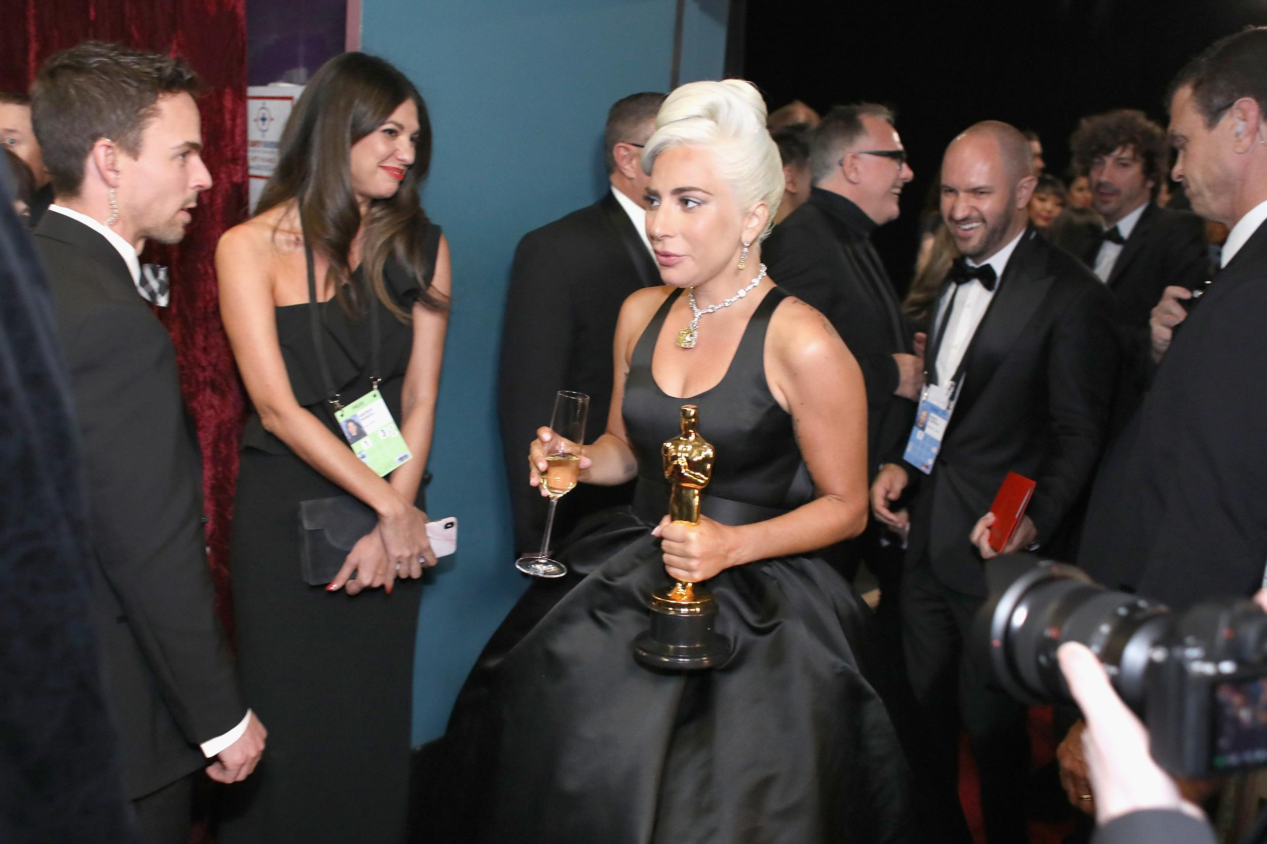 HOLLYWOOD, CA - FEBRUARY 24:  In this handout provided by A.M.P.A.S., Lady Gaga poses with the Music (Original Song) award for 'Shallow' from 'A Star Is Born' backstage during the 91st Annual Academy Awards at the Dolby Theatre on February 24, 2019 in Hollywood, California.  (Photo by Matt Sayles - Handout/A.M.P.A.S. via Getty Images)