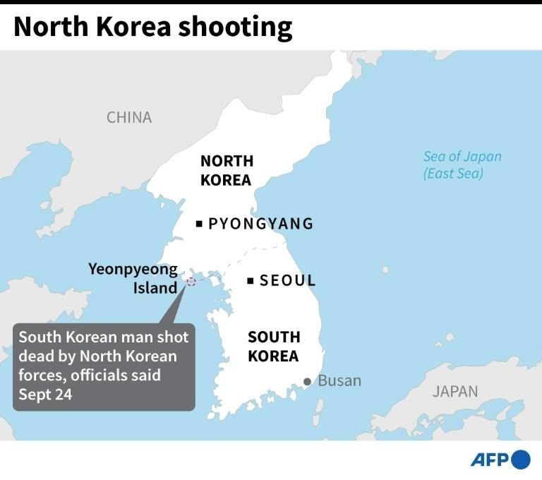 Map showing the location where a South Korean official was shot by North Korean forces