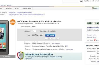 Barnes & Noble now selling the Nook Color on eBay for $199
