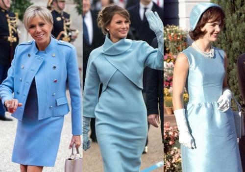 Brigitte Macron, Melania Trump, and Jacqueline Kennedy