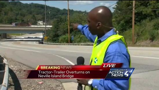Tractor-trailer rollover crash closes part of I-79