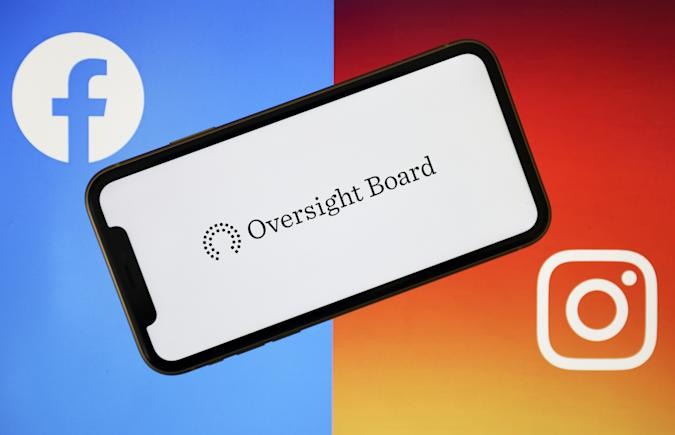 ANKARA, TURKEY - MAY 07: Oversight Board logo is seen on a smart phone with Facebook and Instagram logos at the background in Ankara, Turkey on May 07, 2020. (Photo by Hakan Nural/Anadolu Agency via Getty Images)