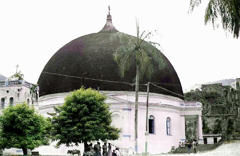 The 220 year-old Our Lady of the Immaculate Conception church in Milot, pictured in 2002, lost its dome in the fire