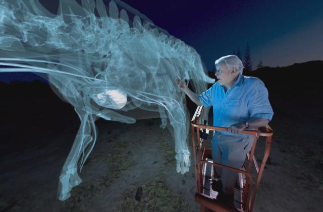 You can get up close and personal with the titanosaur in VR