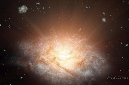 NASA finds distant galaxy shining as bright as 300 trillion suns