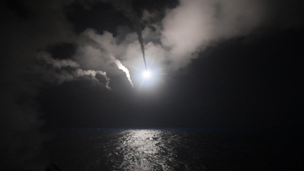 The guided-missile destroyer USS Porter fires missiles at Syria from the Mediterranean Sea on April 7, 2017