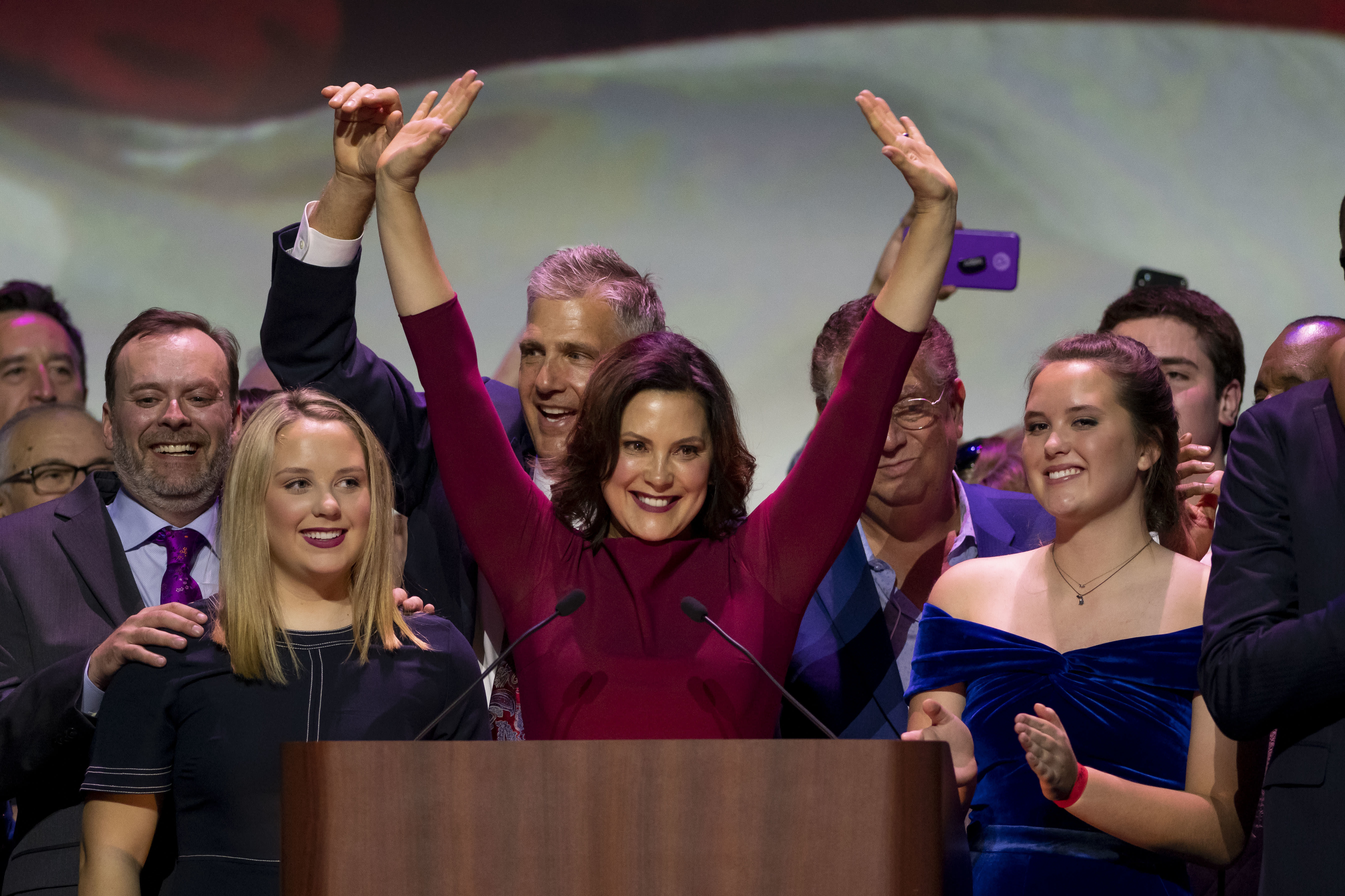 Gretchen Whitmer gives her acceptance speech after being elected the next governor of Michigan, in Detroit, Tuesday, Nov. 6, 2018. The Michigan Democratic Party held its election night event at the Sound Board Theater at MotorCity Casino. (David Guralnick/Detroit News via AP)
