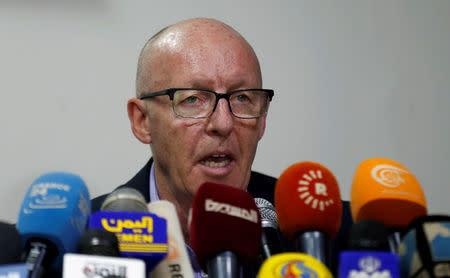 U.N. Humanitarian Coordinator Jamie McGoldrick addresses a news conference in Sanaa, Yemen August 30, 2016. REUTERS/Khaled Abdullah