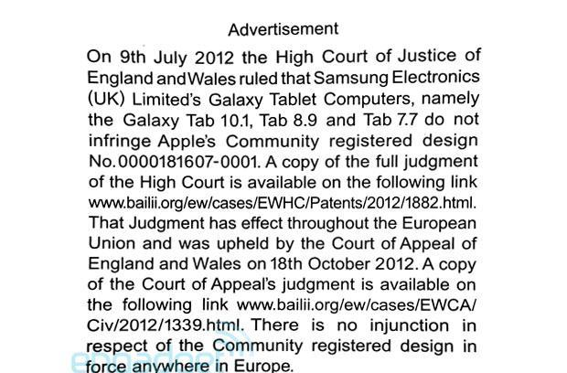 Here's Apple's newly printed apology to Samsung, in case you missed it