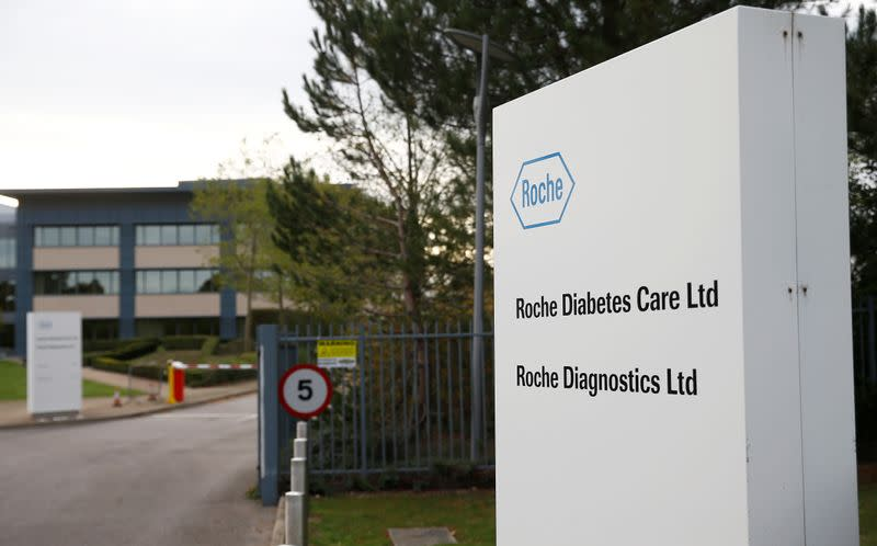 A diagnostics site for Swiss pharmaceutical giant Roche is seen as the company said problems at a new warehouse delayed the dispatch of some products