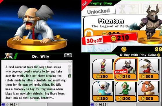 Buy Super Smash Bros trophies with 3DS play coins