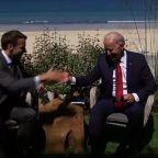 US Pres Biden meets French Pres Macron at G7