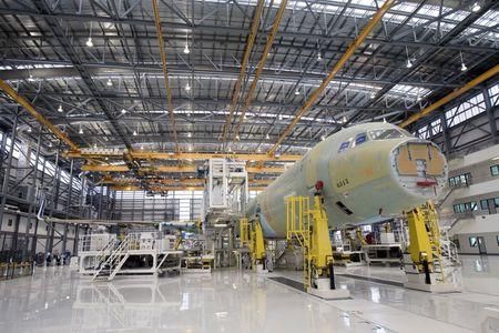 An Airbus A321 is being assembled in the final assembly line hangar at the Airbus U.S. Manufacturing Facility in Mobile