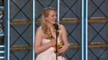 Elisabeth Moss Bleeped During Emmys Acceptance Speech for Calling Her Mom a 'F—ing Badass'