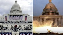 Shocking photos show contrast between Inauguration and Capitol riots