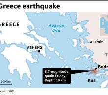 Two killed in 6.7-magnitude quake off Greece and Turkey resorts