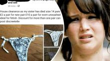 Outrage as man sells dead sister's 'worn' undies online: 'Truly sick'