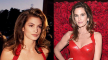 Cindy Crawford recreates one of her most famous looks in curve-hugging Versace