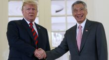 US President Donald Trump meets Singapore PM Lee Hsien Loong at the Istana