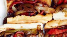 Grilled Sausage, Pepper, and Onion Sandwiches from'Feeding the Fire'
