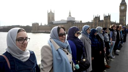 Women gather on Westminster Bridge to condemn 'abhorrent' attack