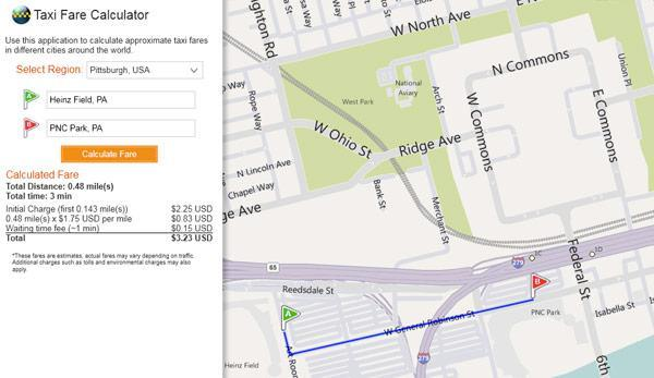 Bing Maps' Taxi Fare Calculator keeps your lollygagging cab driver in check