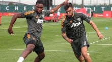 Donny van de Beek, Paul Pogba and Bruno Fernandes in Manchester United training ahead of season opener