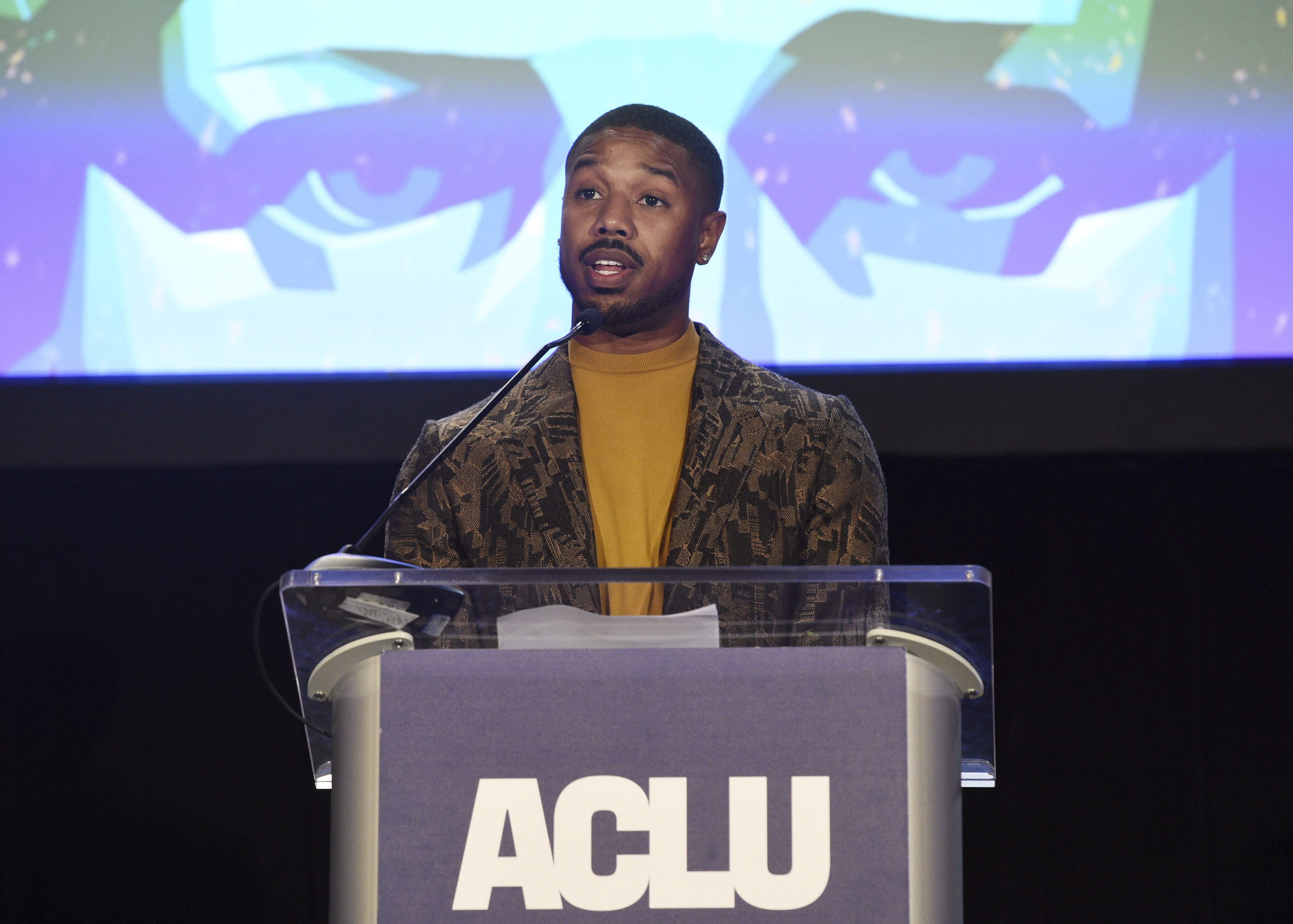 Actor Michael B. Jordan addresses the audience at the ACLU SoCal's 25th Annual Luncheon at the JW Marriott at LA Live, Friday, June 7, 2019, in Los Angeles. (Photo by Chris Pizzello/Invision/AP)
