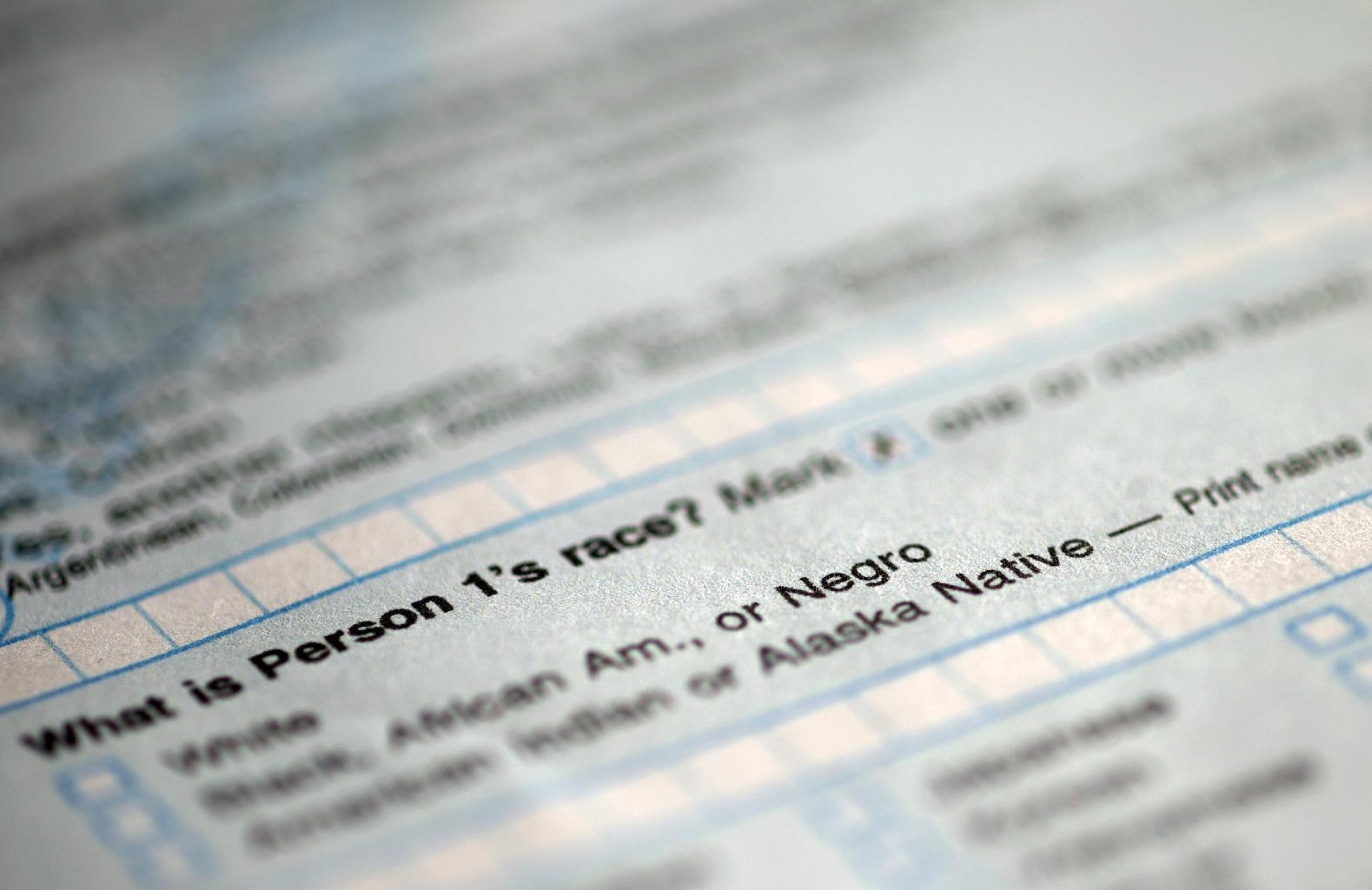 """In this photograph of a sample 2010 US Census form, obtained by The Associated Press shows question 9: """"What is Person 1's race"""", on the first page of the 2010 Census form, with options for White: Black, African Am., or Negro. After more than a century, the Census Bureau is dropping use of the word """"Negro"""" to describe black Americans in its surveys. Instead of the term popularized during the Jim Crow era of racial segregation, census forms will use the more modern-day labels, """"black"""" or """"African-American"""". (AP Photo)"""