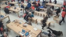 Video shows chaotic scene inside Apple store as shots are fired in mall