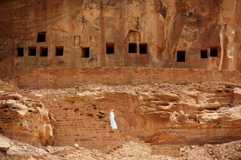 Ancient tombs at the Khuraiba archaeological site near Saudi Arabia's northwestern town of Al-Ula (AFP Photo/FAYEZ NURELDINE)