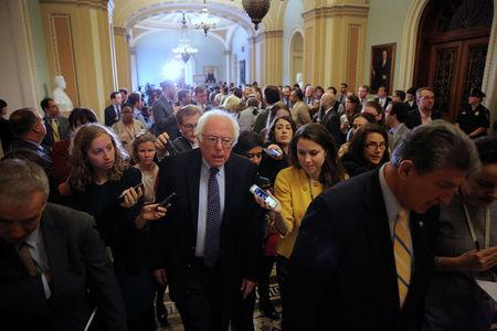 U.S. Senator Bernie Sanders leaves after attending the Senate Democrat party leadership elections at the U.S. Capitol in Washington, U.S. November 16, 2016. REUTERS/Carlos Barria