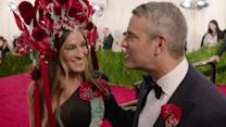 Sarah Jessica Parker Dons Showstopping Headress For Date With Andy Cohen at The Met Gala.