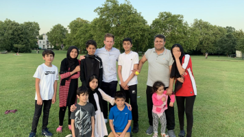 England's Eoin Morgan joins family game of cricket