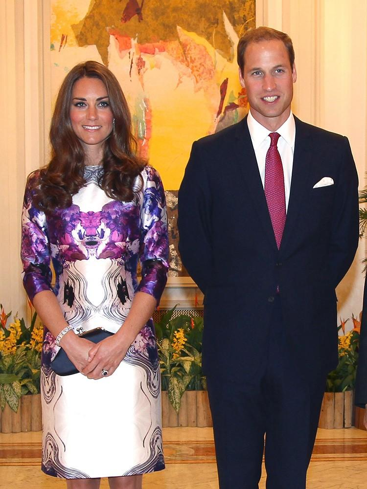 <p>Kate and William kicked off the 2012 Diamond Jubilee tour in Singapore, the Duchess wearing a vibrant dress by Prabal Gurung.</p>
