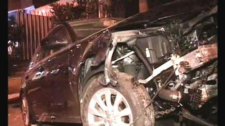 Speeding Audi rams into barricade, 4 cops injured