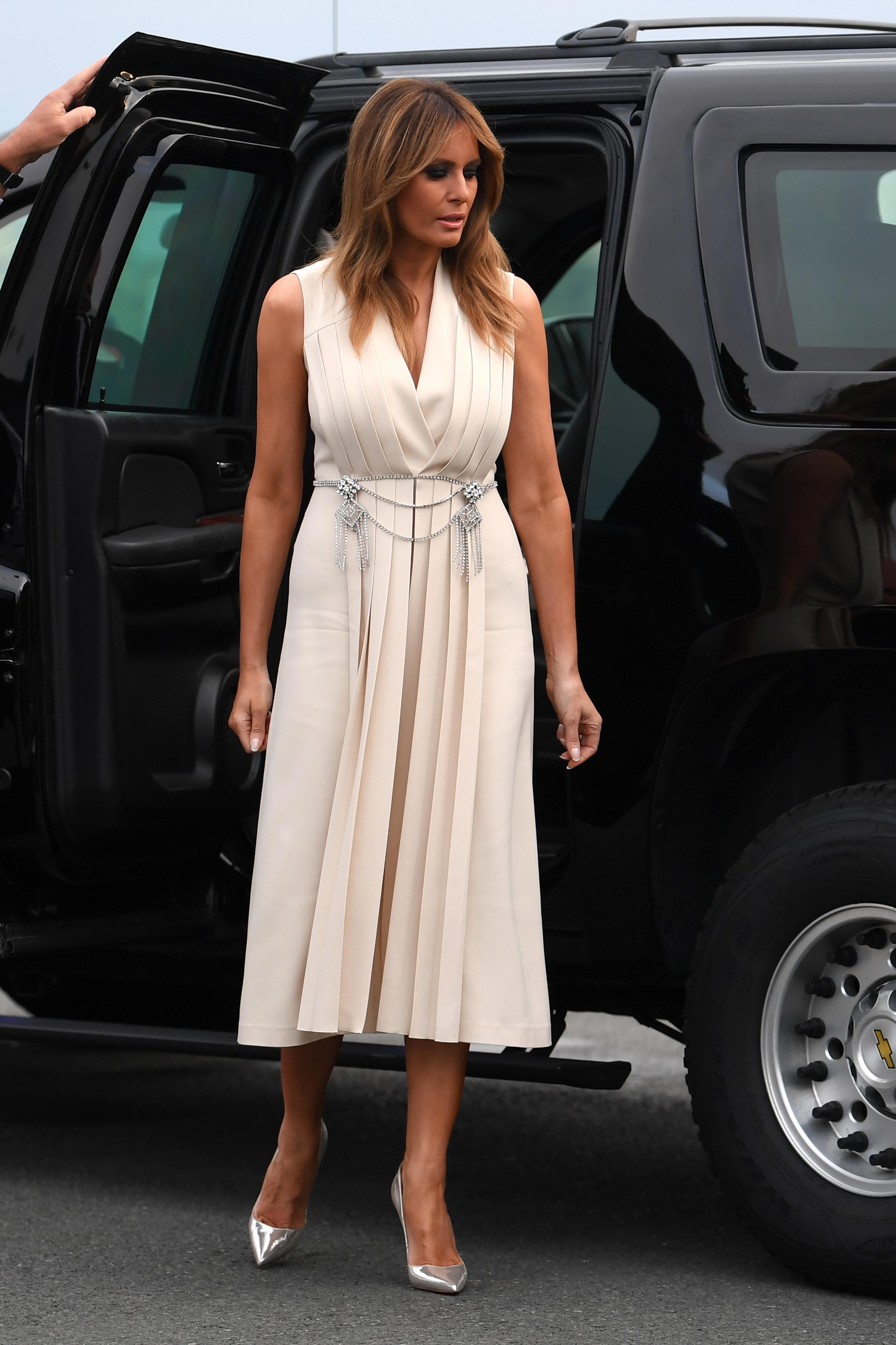 melania trump rocks silver louboutins at g7 summit